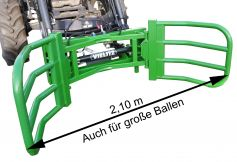 Round bale gripper with receptacle for Euro quick-change frame or for wheel loader/telescopic loader (depending on the variant you choose in the shop)