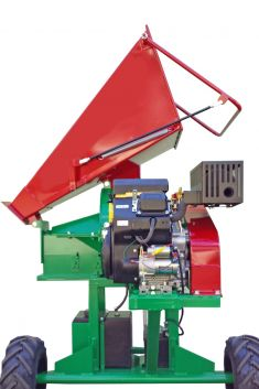 Hopper can be folded up and discharge removed (photo shows similar long chipper)