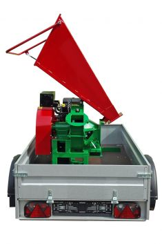 folding hopper, detachable high discharge (photo shows comparable coarse chipper)