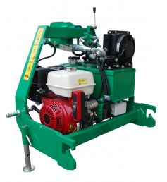 Optional on-board hydraulics consisting of:  Honda petrol engine, oil tank, mounting frame, 12V battery (E-Start), oil cooler, top link and additional feet (so the wrapper can be used without tractor, the transport of the complete unit of on-board hydraulics + wrapping unit is possible in the rear three-point attachment)