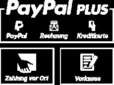 PayPal Plus: PayPal, Rechnung, Kreditkarte - Zahlung vor Ort - Vorkasse